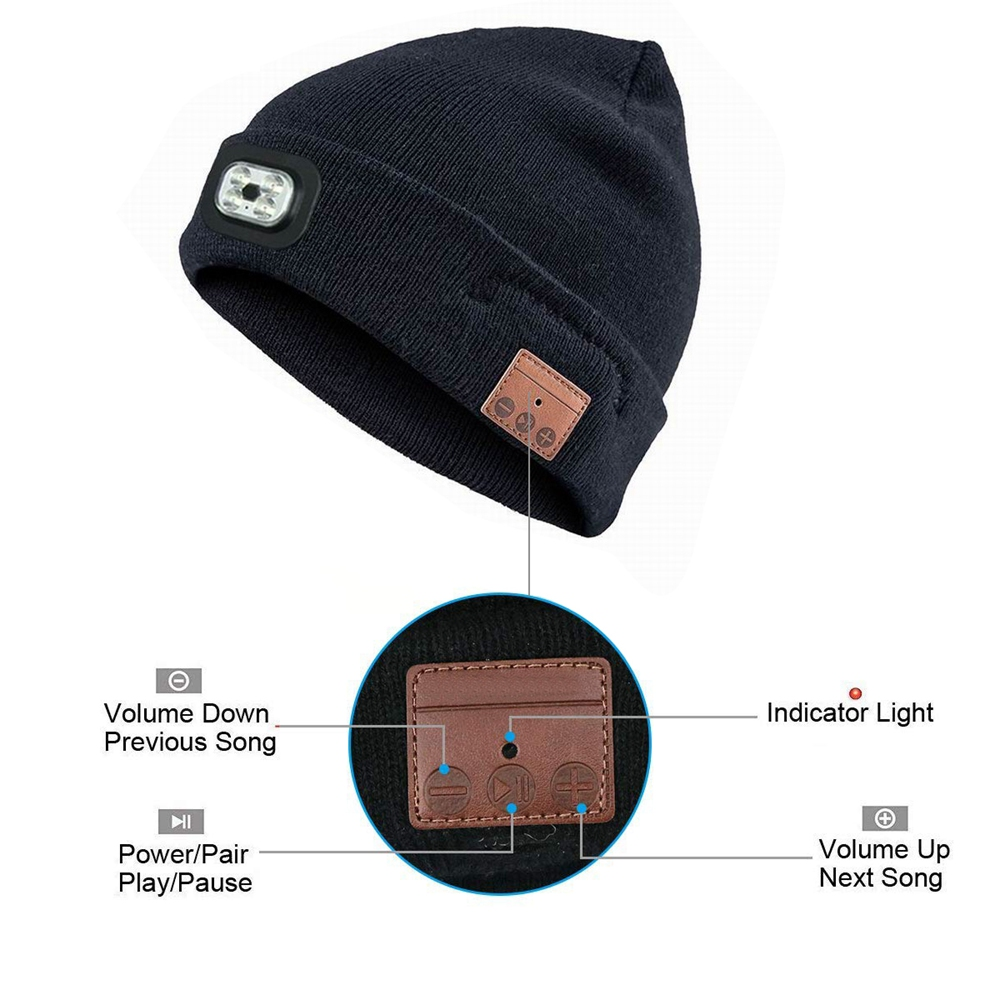 455f300eaf0 Wireless Bluetooth Beanie Hat With LED Headlamp USB Rechargeable Unisex  Musical Hats Solid Warm Casual Outdoor Sport-in Skullies   Beanies from  Apparel ...