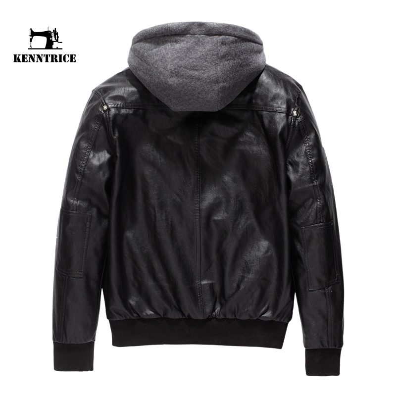 KENNTRICE Leather Hooded Jacket Men Motorcycle Jacket Polar Fleece ...