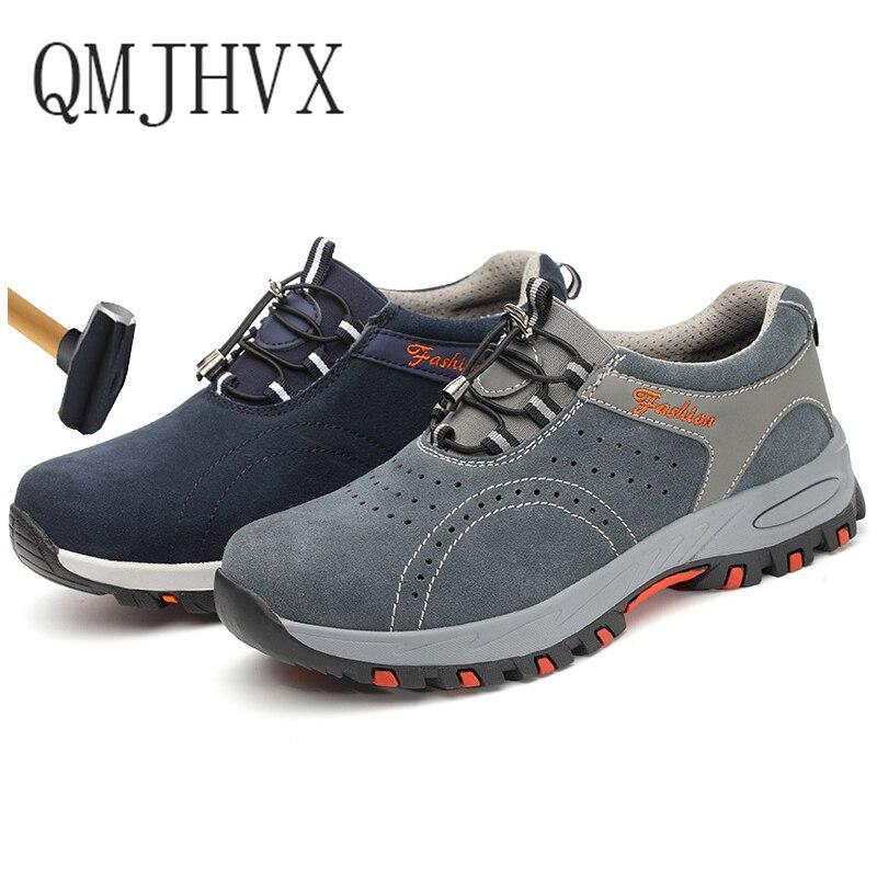 Léger Respirant Hommes décontracté Chaussures De Sécurité En Acier Orteil Chaussures de Travail Pour Hommes Anti-fracassant Construction Sneaker Avec Réfléchissant