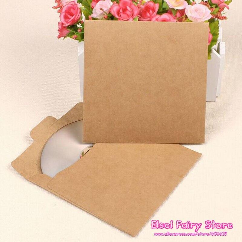 50pcs Creative CD Paper Case Bag,Blank Kraft Envelopes, Natural color Plain Kraft Paper Gift Bag,Party Cards Paper bag