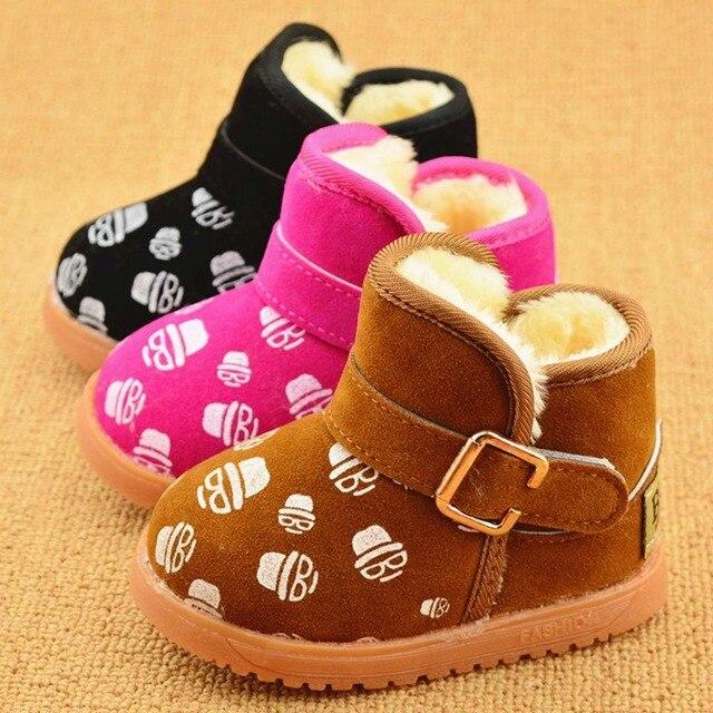 Winter Warm Plush Velvet Children Kids Infant Boots Flock Shoes Boys Girls,Baby Sneakers Snow Boots Flat Criancas Sapatos S2320