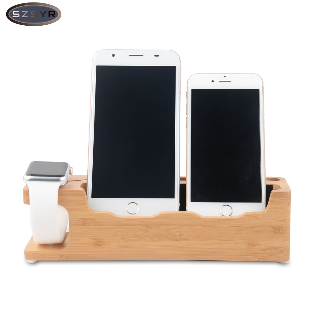 Newest Bamboo Charging Dock Station 3 in 1 Charger Holder Stand for iPhone for iWatch Smart Watch Support Dock Freeshipping