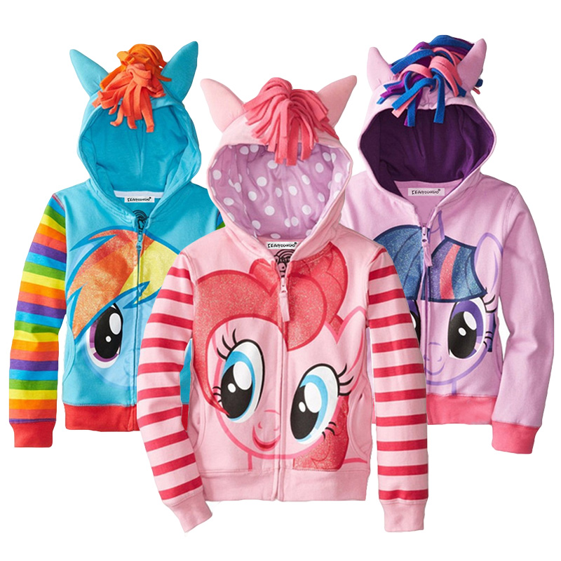 Girls Hoodies Cartoon Little Pony Spring Casual Hoodies For Girls Full Sleeve Kids Coats Girls Sweatshirt Children Clothing