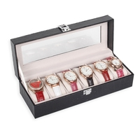TONVIC Factory Wholesale 6 Grid Leatherette Jewelry Watch Display Box Storage Collection Fashion Case
