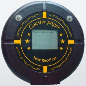 Pocsag text message receiver, coaster pager, restaurant guest call, wireless calling pager, with led screen showing text