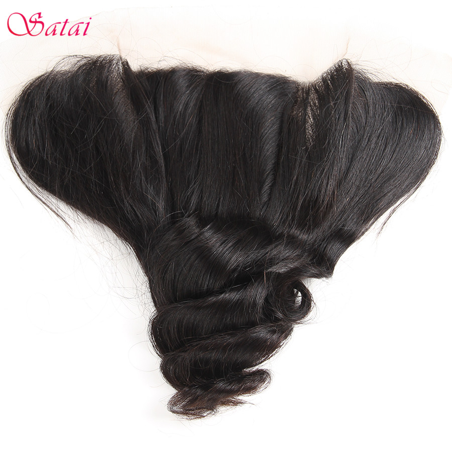 SATAI Hair Loose Wave 13x4 Ear To Ear Lace Frontal With Bleached Knots Natural Color 100