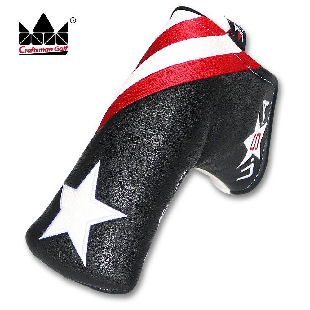Craftsman Golf Blade Putter Cover For Scotty Cameron Putter Magnetic Headcover USA Star Synthetic PU Leahter New Black/White