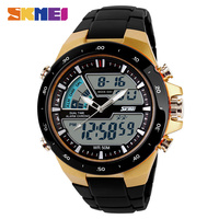 Skmei мужчины цифровые кварцевые наручные часы двойной часовой пояс водонепроницаемый привело моды часы модный бренд на открытом воздухе спо...