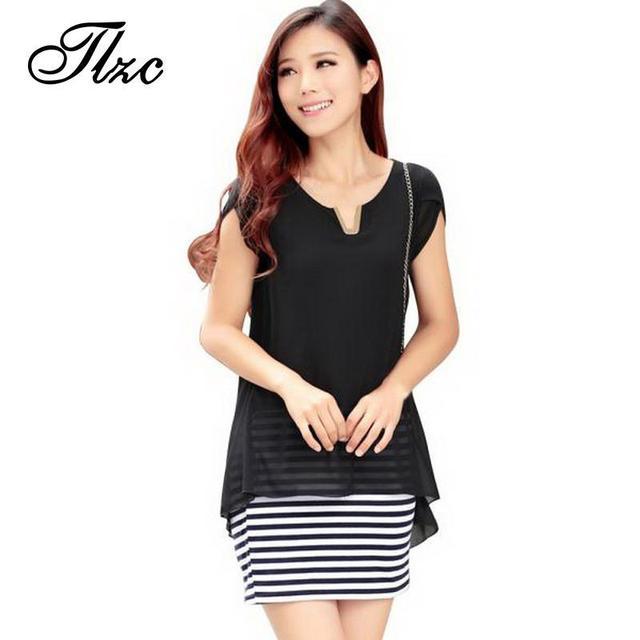 Tlzc negro rayas diseño las mujeres de moda camisa de la gasa de una sola pieza de ropa tamaño xl-3xl 2017 sweet lady blusas dress