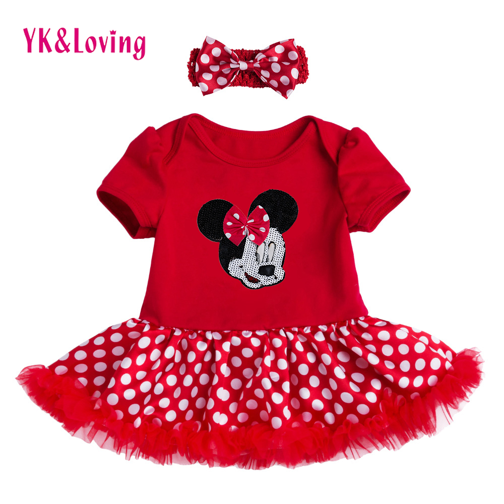 Baby Lace Red Romper Dress Minnie Short Sleeve Tutu Wedding Dress Vestido Infantil For Girl Clothes Summer 2018 Infant Clothes 3d love baby girl lace romper dress headband leg warmers crib shoes vestido para bebe newborn tutu sets wedding party clothes