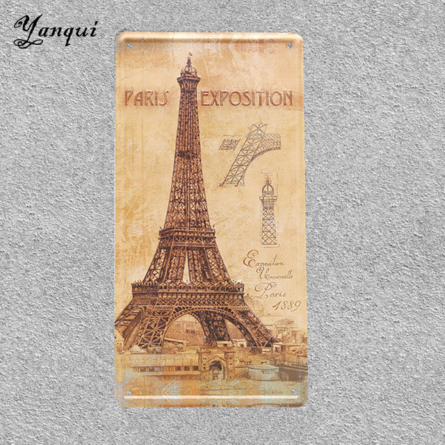 Paris Exposition 1889 License Plate Eiffel Tower Vintage Tin Signs ...