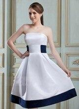 2016 New Cheap Short Bridesmaid Dresses A-Line Strapless Knee-length Satin Hot Sale