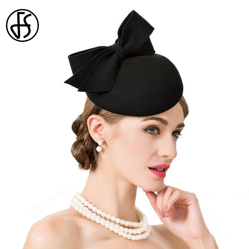 433ab93b FS Aristocratic Wedding Hat Small Derby Hats With Feather For Women Party  Church Pillbox Caps White Fascinators Formal Sinamay