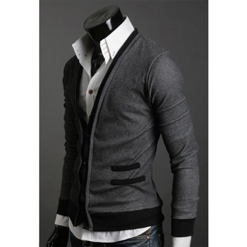 ZOGAA Hot Sale Dark Gray/Black Men Fashion Solid Cotton Zipper Wool Sweater V-Neck Cardigan Coat Single Breasted Fall Sweater