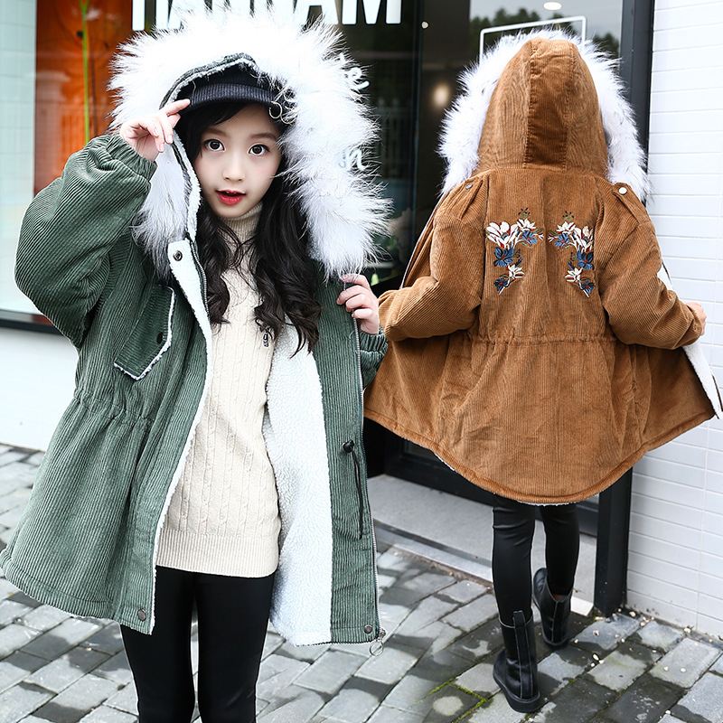 4-14 Years Girls Winter Plus Velvet Coat Parkas Wadded Jacket 2018 New Fashion Big Fur Collar Cotton Jackets Outerwear double breasted cotton padded jacket stand collar middle aged mother quilted coat plus size women winter wadded outerwear xh499