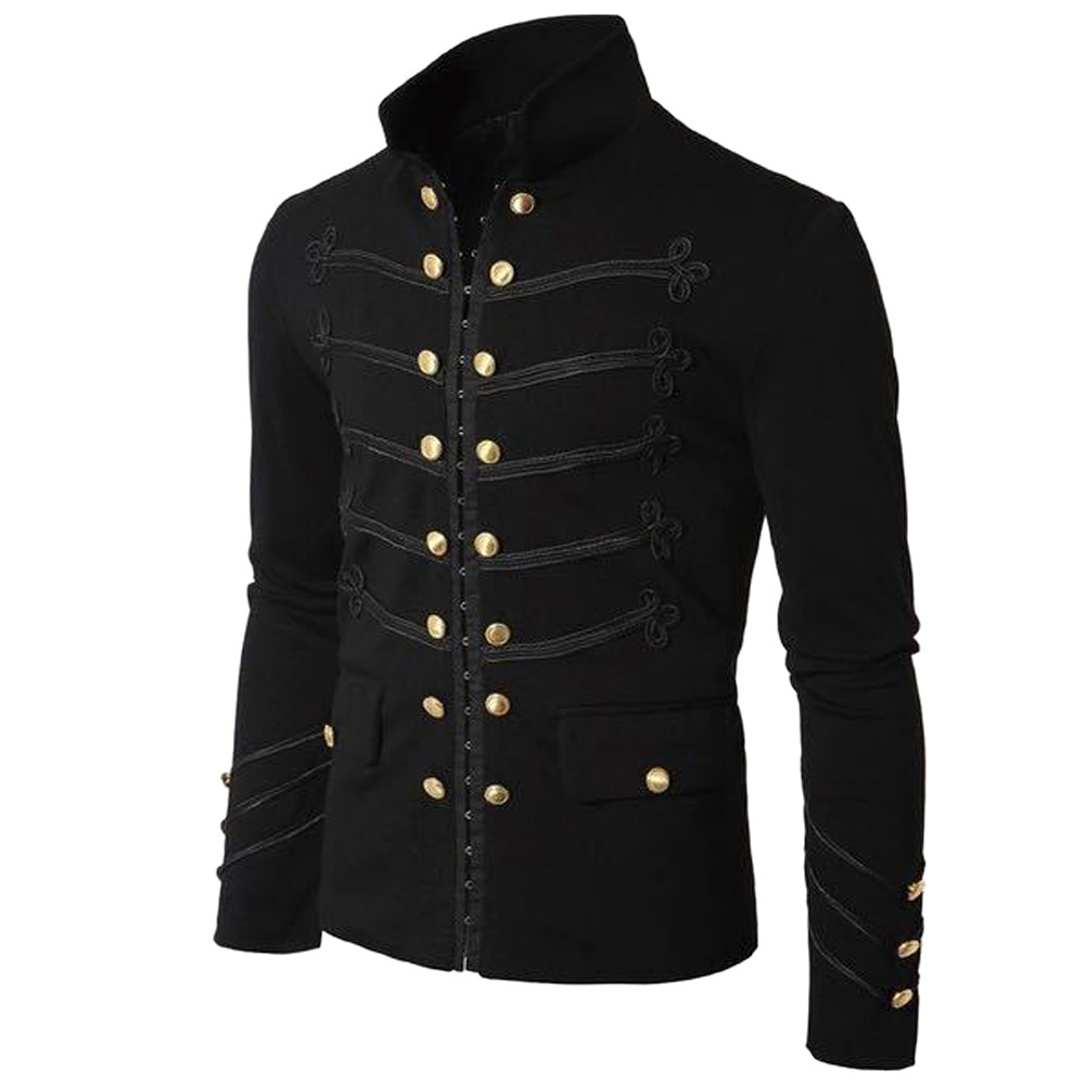 Tops & Tees Logical Tee Shirt Men Shirt Cotton Mens Coat Jacket Gothic Embroider Button Coat Uniform Costume Praty Outwear 4.17 To Ensure Smooth Transmission Polo
