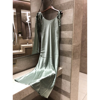 2019 женские шелковые пикантные Макси платье без рукавов богемные Длинные платья Летние пикантные вечерние повседневное зеленое