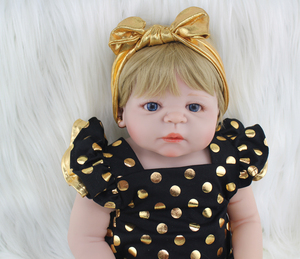 "22"" Full Silicone Body Reborn Girl Baby Doll Toys 55cm Newborn Princess Babies Doll Blonde Hair Birthday Gift Kids Brinquedos(China)"