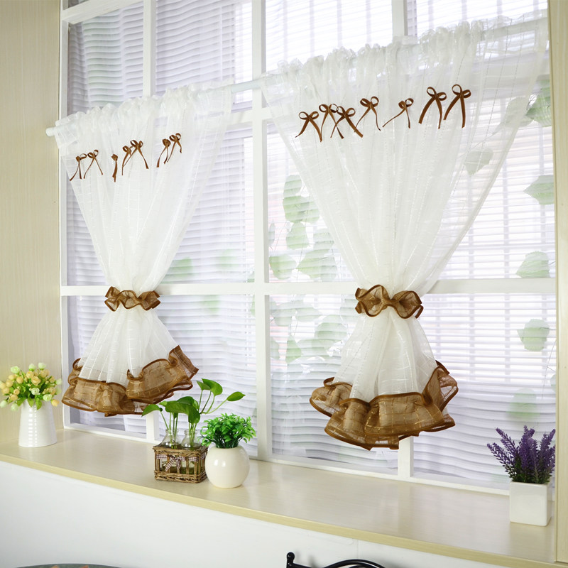 White Roman Kitchen Tulle Curtain