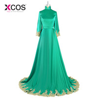 Muslim Evening Dresses Long 2018 High Quality Gold Appliques A Line Green Mother of the Bride Dress African Formal Party Gowns