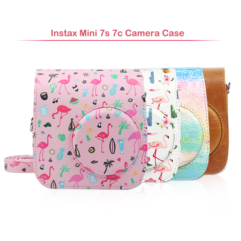 Quality Protective Case for Fujifilm Instax Mini 7s 7c Instant Film Camera, Soft PU Leather Bag with Removable Shoulder Strap