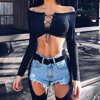 Off Shoulder Black Deep V Neck T Shirt Women Soild Bandage Cropped Top Long Sleeve Shirt Sexy Slim Shirt T-shirts
