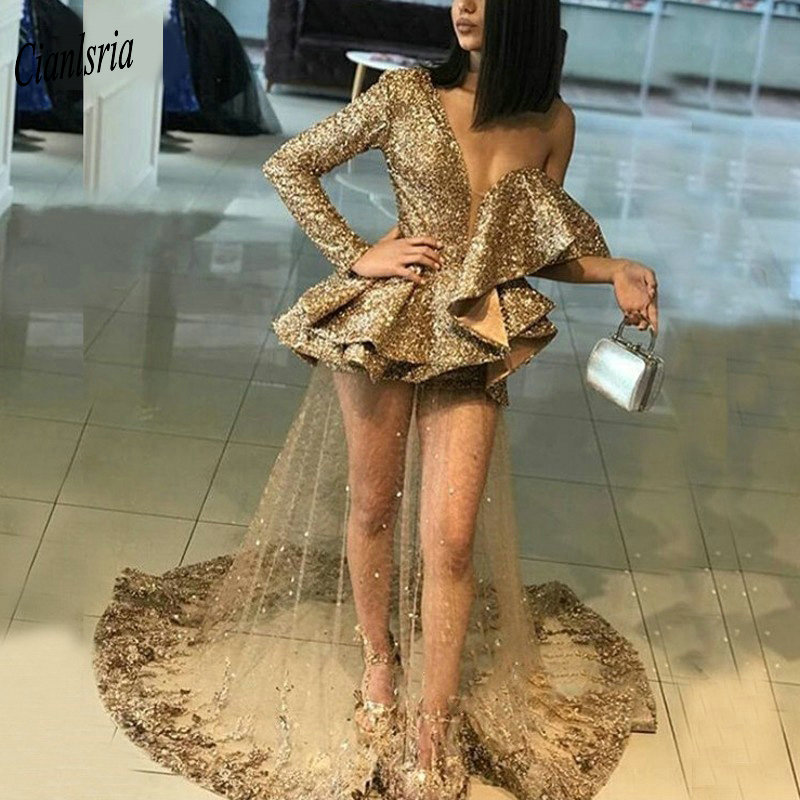 Sexy Gold One Shoulder Sequined Evening Dress 2019 Long Sleeve Ruffles Appliques Lace Illusion Formal Evening Party Dressess