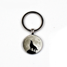 Hot Fashion retro moon roaring wolf glass keychain personality pattern pendant women men keyring bag charm car friends love gift