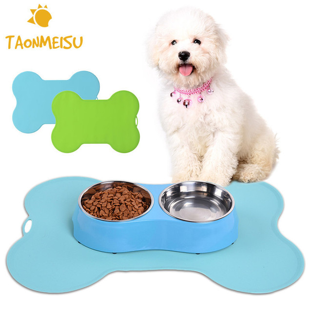 Super Design Pet Dog Puppy Cat Feeding Mat Bone Silicone Pad Cute Bed Dish Bowl Food Water Feed Placemat Wipe Clean Pet Supplies