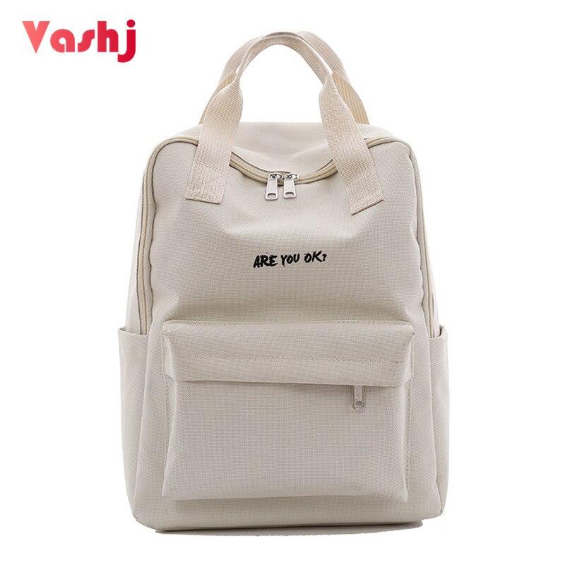 Одноцветное Для женщин рюкзак простая школьная сумка для подростков гриль студент холст двойная молния плечо сумка женская Повседневное ...