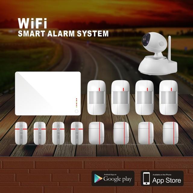 Pacote completo de Controle WI-FI Sistema de Alarme Inteligente com APP Grátis & Digitalização QR CODE para Adicionar controle Remoto/PIR/Porta/Sensor de Sirene