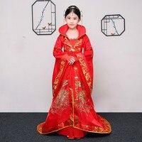 Детская древний Суд костюм красный династии Тан вышитые задней принцесса Hanfu костюм народный танец костюм сценическое