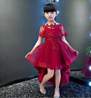 Glitz Red Flower Girl Dress Long Trailing Princess Ball Gown Party Wedding Dress First Communion Dresses