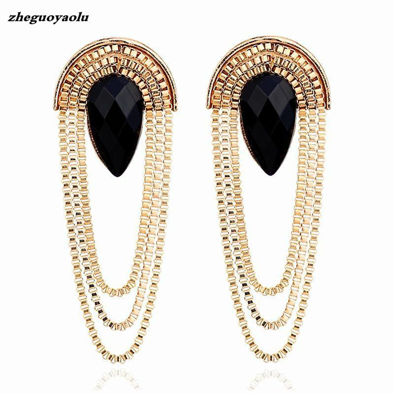 2019 Big Fashion Retro Scalloped Metal Black Imitation Gemstone Long Tassel Earrings Wholesale Earrings For Women Oorbellen