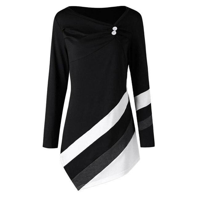 Женские топы и блузки 2018 женские осенние зимние полосатые Асимметричные Туники Топы женские большие размеры 5XL блузка Рубашки roupas feminina