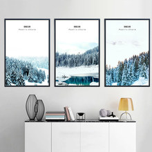 White Snow Forest Landscape Canvas Posters and Prints Nordic Style Wall Art Painting Decorative Picture Living Room Home Decor