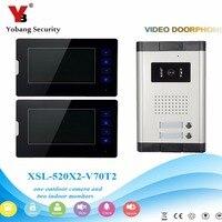 YobangSecurity 2 Einheiten Apartment Intercom 7 zoll Monitor Wired Video Türklingel Tür Telefon Speakphone Intercom System Kit|Videosprechanlage|Sicherheit und Schutz -