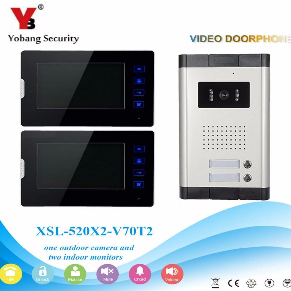 YobangSecurity 2 Units Apartment Video Intercom 7 Inch Monitor Wired Video Doorbell Door Phone Speakphone Intercom System Kit