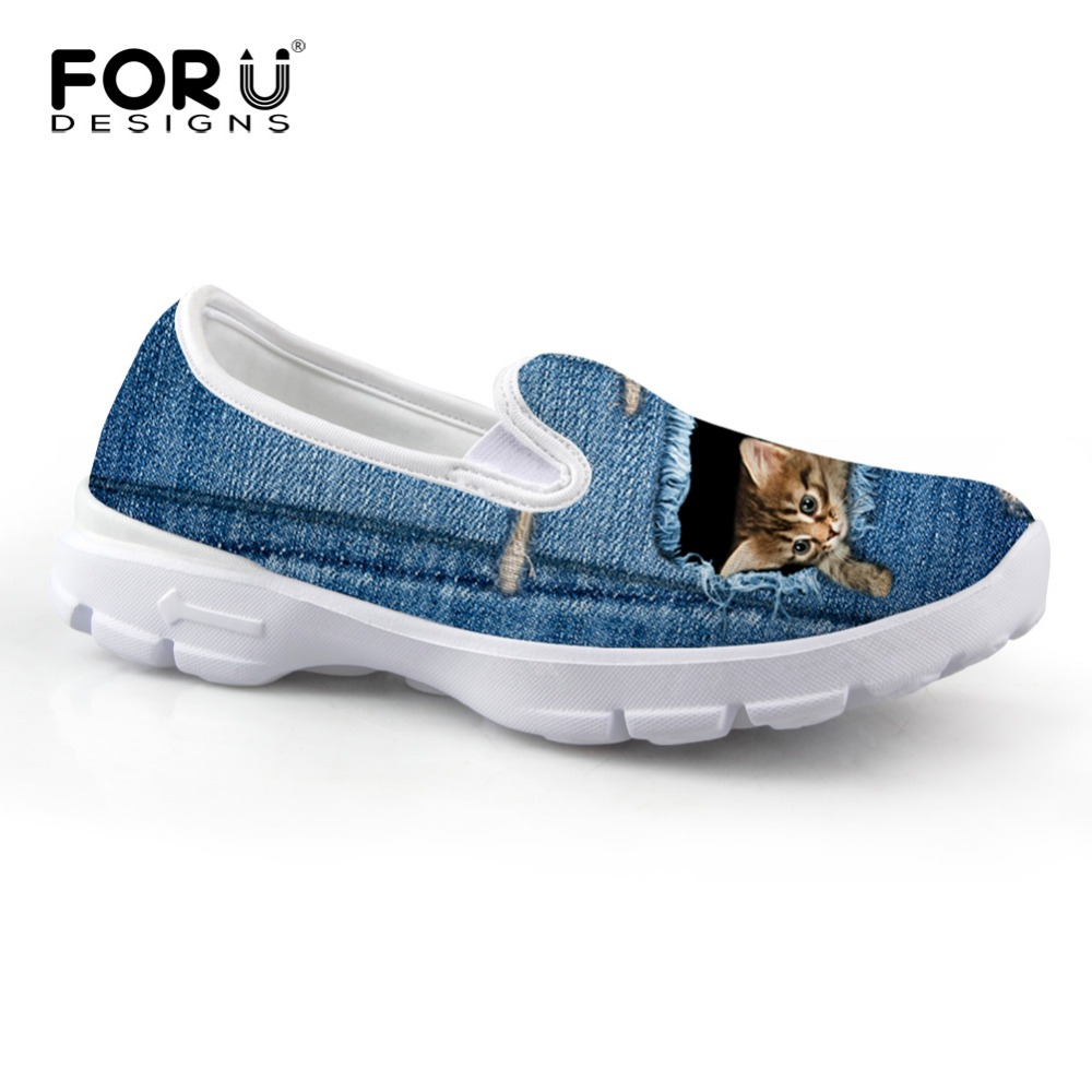 FORUDESIGNS 2017 Fashion Women' Flats Cute Blue Denim Animal Cat Printed Slip-on Lazy Shoes Female Loafers Casual Lady Boat Shoe