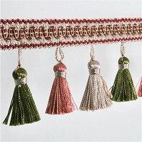 12 m de Tres colores un poco lob cortina de flecos que cuelgan adornos de Encaje Borla recorte sofá cortinas accesorios de Decoración