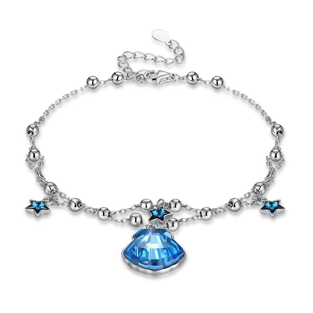 Real 925 sterling silver uses the Austria element crystal bracelet for women s925 sterling silver star bracelet for Christmas цены