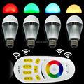 4x 2.4G E27 9W RGB+White(RGBW) or RGB+Warm White(RGBWW) WiF LED Bulb +4-Zone RF Touch Scree Remote Controller + Wifi Controller
