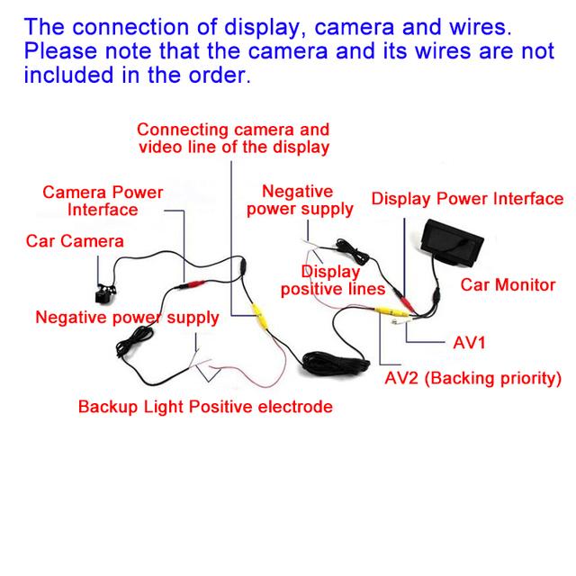 Hippcron Car Monitor 4.3″ Screen For Rear View Reverse Camera TFT LCD Display HD Digital Color 4.3 Inch PAL/NTSC