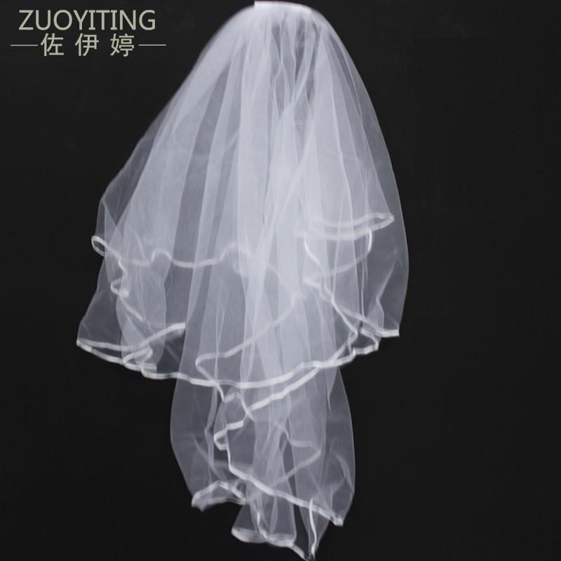 ZUOYITING Egyszerű Tulle fehér Ivory Két réteg Esküvői fátyol Szalag ... a36b3ac89c