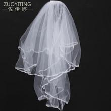 ZUOYITING Egyszerű Tulle fehér Ivory Két réteg Esküvői fátyol Szalag Edge fésű Olcsó esküvői kiegészítők 1.5m rövid esküvői fátyol
