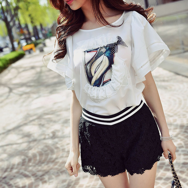Original New Design 2017 Brand Summer High Heel Printed Butterfly Sleeve Plus Size Casual Loose White Blouse Women