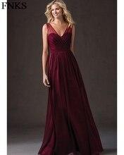 Cheap Chiffon Wine Bridesmaid Dress Double V Neck A-Line Long Burgundy Wedding Party Gowns vestido madrinha longo PB23