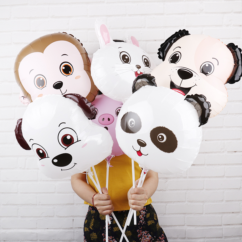 18inch cartoon animal figures head party decorations balloon animales granja cumpleanos toys lovely birthday party supplies 5pcs