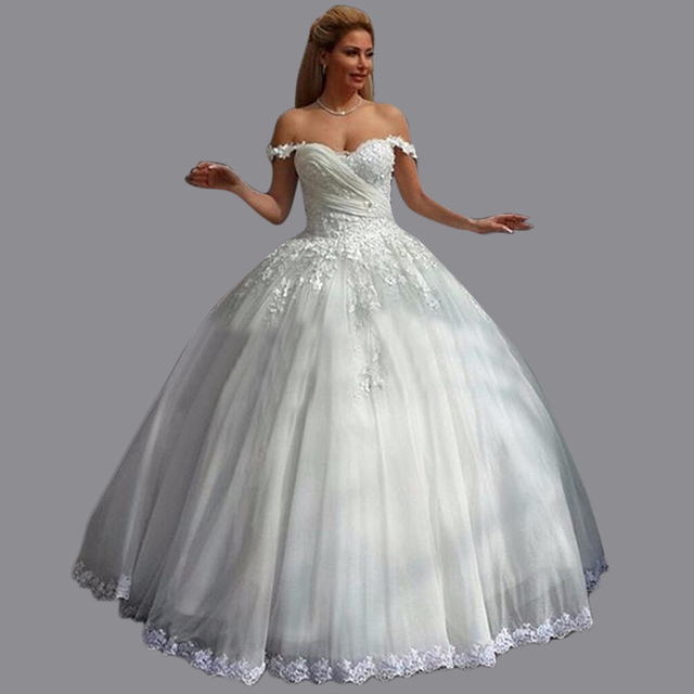 674c7d16f5 Puffy Sweetheart Tulle Imported Wedding Dresses Floor Length Off Shoulder  Lace And Tulle Lebanon Bridal Gowns MC170