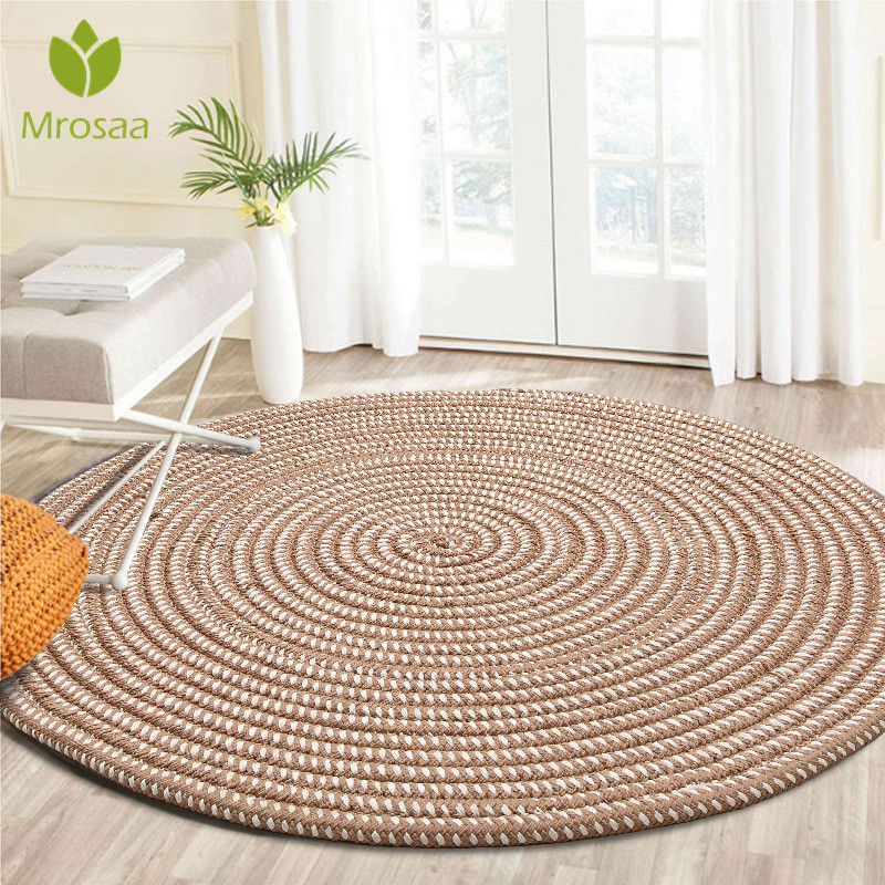 Newest Woven Round Computer Cushion Carpets For Living Room Bedroom Rug Study Room Tatami Carpet Household Mat Home Decoration